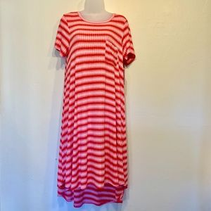 LuIaRoe Carly Pink Striped Pocket T-Shirt Dress